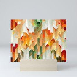 Geometric Tiled Orange Green Abstract Design Mini Art Print