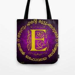 Joshua 24:15 - (Gold on Magenta) Monogram E Tote Bag