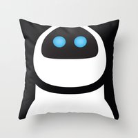 pixar Throw Pillows featuring PIXAR CHARACTER POSTER - Eve - WALL-E by Marco Calignano