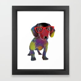 hipster dachshund Framed Art Print