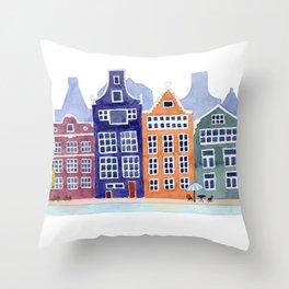 Watercolor Amsterdam Throw Pillow