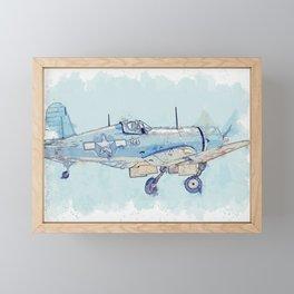 F4U Corsair Retracting Gear watercolor by Ahmet Asar Framed Mini Art Print