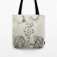 under the sea Tote Bags featuring Under The Sea Sketch by ANoelleJay