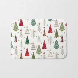Scandinavian Christmas Trees Pattern - Red Green Bath Mat