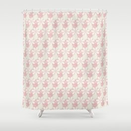 Summer Lace: a delicate lacy pattern in palest pinks with a touch of the lightest green Shower Curtain