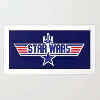 top gun Art Prints featuring Star Gun / Top Wars by Milo Firewater
