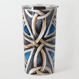 Celtic Cross Blue Travel Mug