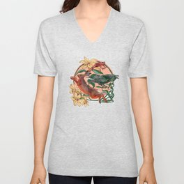 Rabbit Crow and Toad amongst the Lilies  Unisex V-Neck