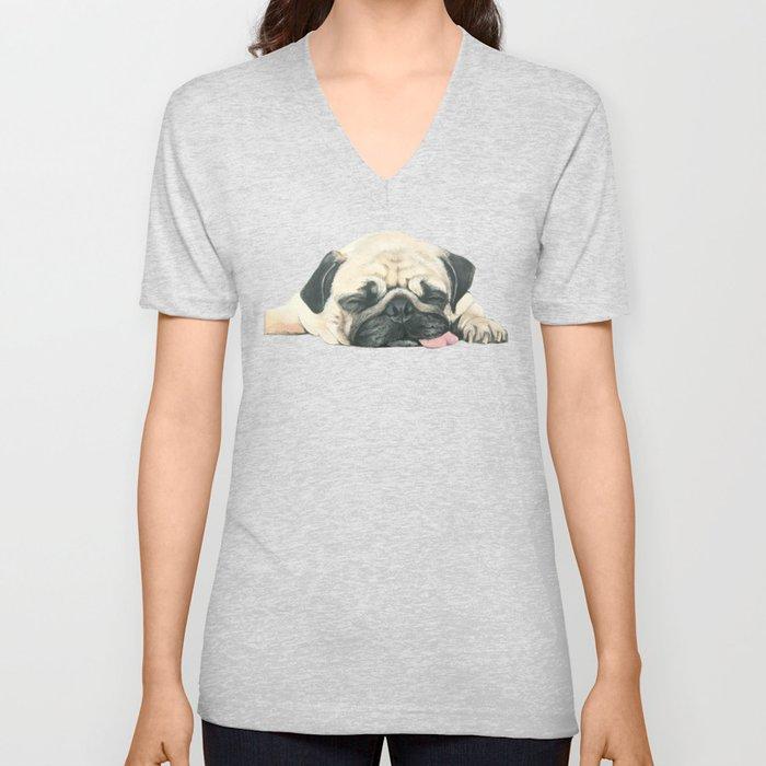 Nap Pug, Dog illustration original painting print Unisex V-Neck