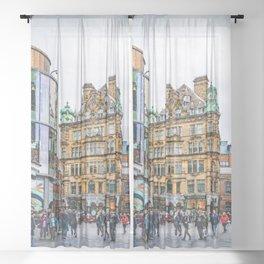 Newcastle upon Tyne city art #newcastle #england Sheer Curtain