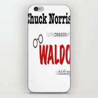 waldo iPhone & iPod Skins featuring Waldo Opened Up The Wrong Can Of Whoop-Ass by Alexandra Raptor