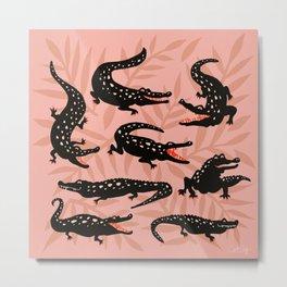 Alligator Collection – Black & Peach Metal Print