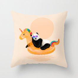 Chillin (Unicorn Panda) Throw Pillow
