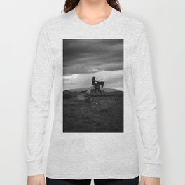 Black and White Cowboy Being Bucked Off Long Sleeve T-shirt