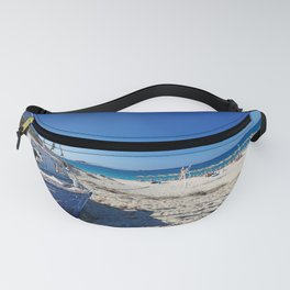 A boat on the beach of Plaka in Naxos island, Greece Fanny Pack