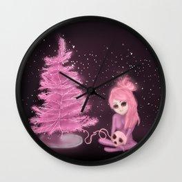 Intercosmic Christmas in Pink Wall Clock