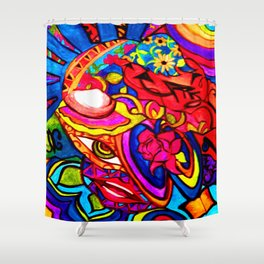 Abstract Nature Painted Collage Heart Shower Curtain