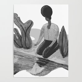 Woman with Paper Boat by The Riverside Poster
