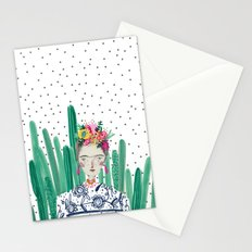 Frida Kahlo. Art, print, illustration, flowers, floral, character, design, famous, people, Stationery Cards