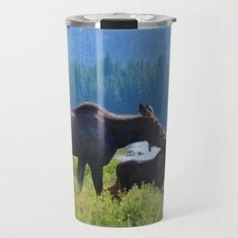 Mother moose & calf at Maligne Lake in Jasper National Park Travel Mug