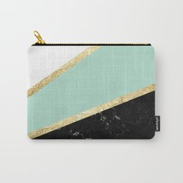 Mint, White, Black Marble and Gold Stripes Glam #1 #minimal #decor #art #society6 Carry-All Pouch