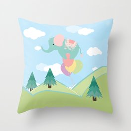 Elephant and Balloons, nursery decor , Throw Pillow