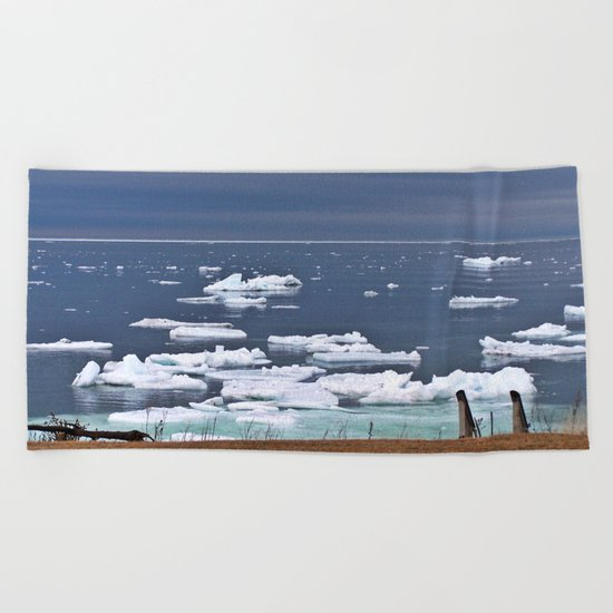 Icebergs on a Calm Sea Beach Towel