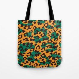 Modern orange brown jade green animal print Tote Bag