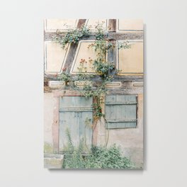 Blue door, yellow wall and greenery in France   Travel photography Europe   Pastel photo print Metal Print