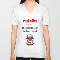 nutella V-neck T-shirts featuring Nutella -only reason by Lyre Aloise