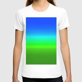 Blue Sky Green Grass Deconstructed (blue to green ombre gradient) T-shirt