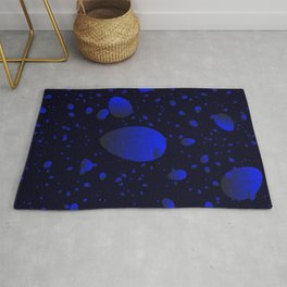 Large sea drops and petals on a blue background in nacre. Rug