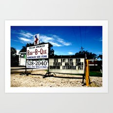 Pecan Smoked BBQ, Louisiana  Art Print