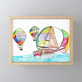 Hot Air Sailing Framed Mini Art Print
