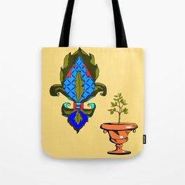 Fleur de Lis in blues and terra cotta urn Tote Bag