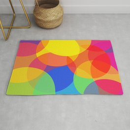 Abstract Colorful Round Lights Rug
