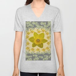 CREAMY SPRING DAFFODILS & FLOWERS GREY GARDEN Unisex V-Neck