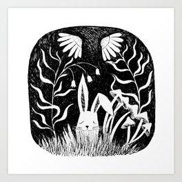 black and white rabbit ink illustration Art Print