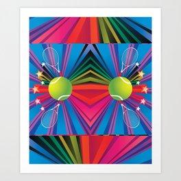 Tennis ball with rackets Art Print