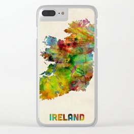 Ireland Eire Watercolor Map Clear iPhone Case