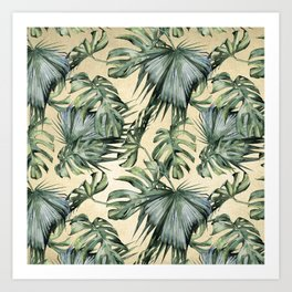 Palm Leaves Classic Linen Art Print