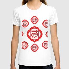 "RED SANSKRIT CHAKRA PSYCHIC WHEEL ""GROUND"" T-shirt"
