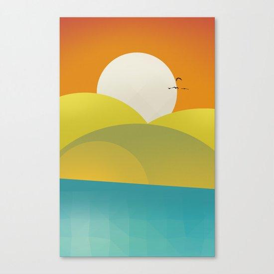 Chilaxing autumn on seaside Canvas Print