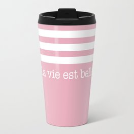 La vie est belle - II - pastel pink & stripes Travel Mug