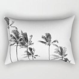 Hawaii Palm Trees - Black and White Rectangular Pillow