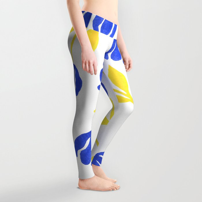 Blue and Yellow Floral Leggings