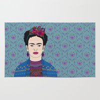 frida kahlo Area & Throw Rugs featuring Frida Kahlo by Bianca Green
