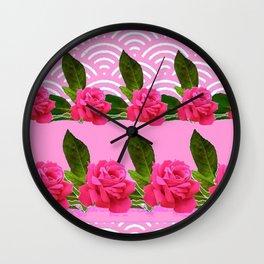 CERISE PINK GARDEN ROSES PATTERN ABSTRACT ART Wall Clock