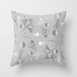 Vector pattern from silver black plants and grass blades on a gray background in vintage style. For Throw Pillow