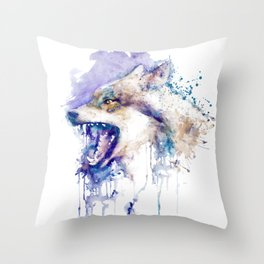 Angry Wolf Profile Portrait Throw Pillow